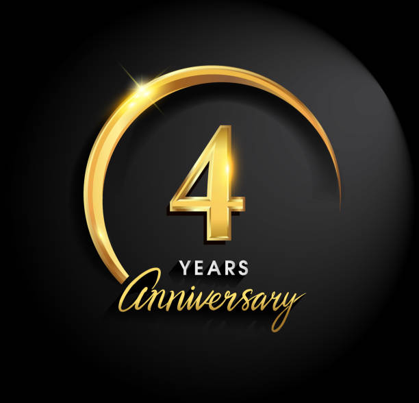 Anniversary design with ring and elegance golden color isolated on black background vector art illustration