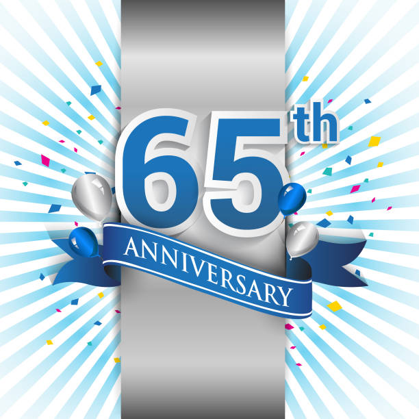 anniversary design with silver label and blue ribbon vector art illustration