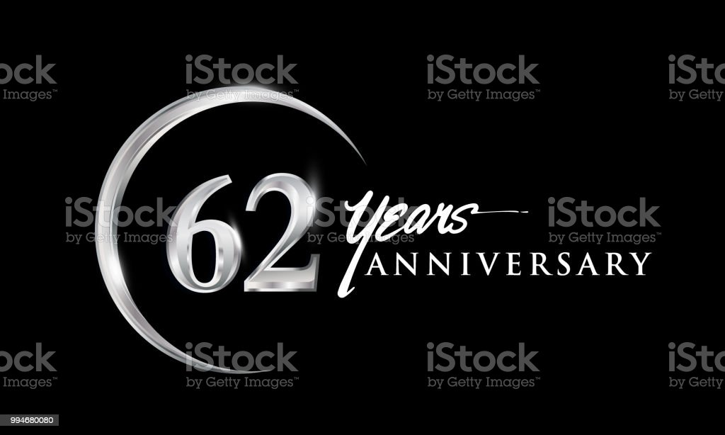 Anniversary Design With Silver Ring Elegant Isolated On Black Background Royalty Free