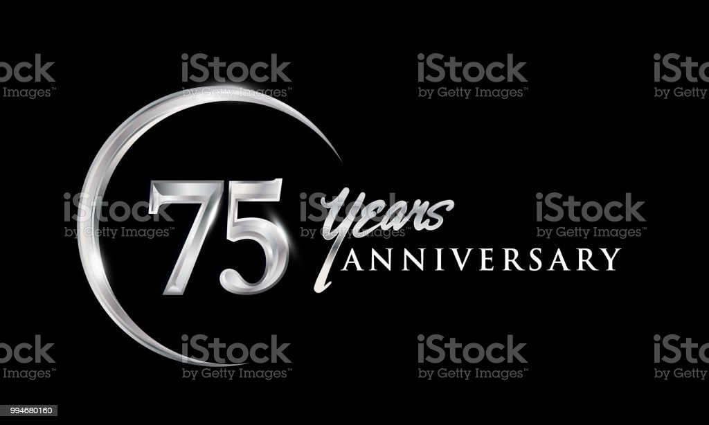 Anniversary design with silver ring elegant design isolated on black background vector art illustration