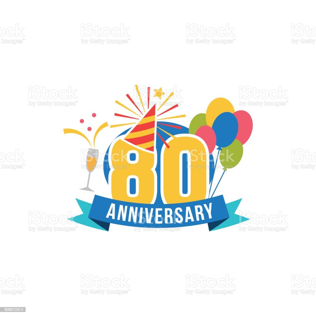 Anniversary eighty years number vector art illustration