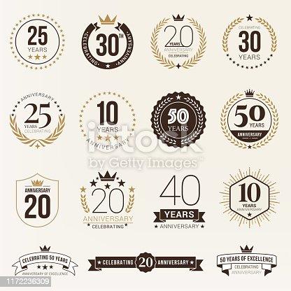 istock Anniversary emblem set stock illustration 1172236309