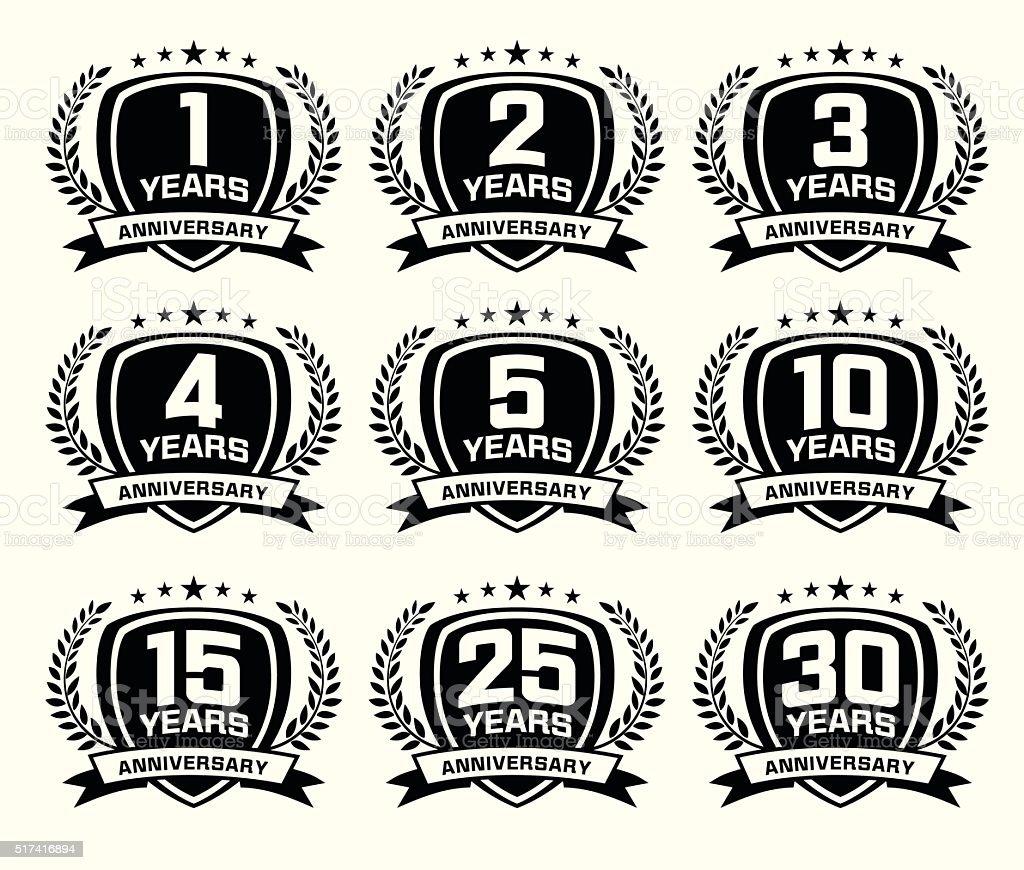Conjunto de emblema de aniversario - ilustración de arte vectorial