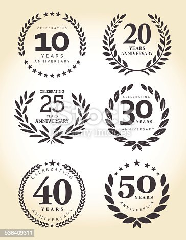 Vector of grey black color anniversary emblem for 10, 20, 25, 30, 40 and 50 years.