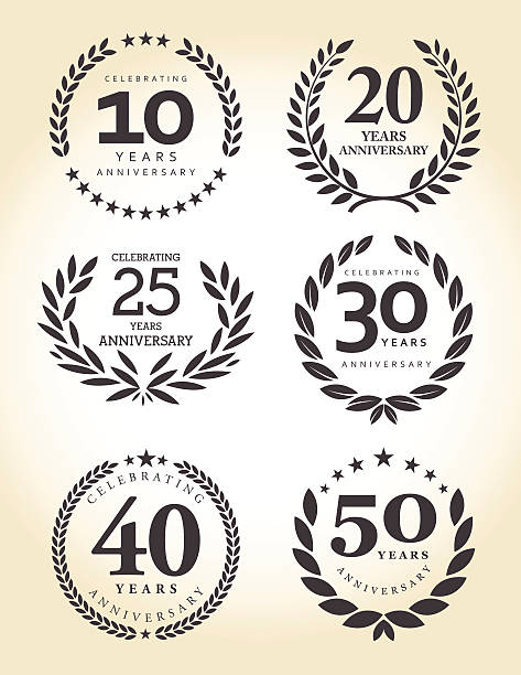ilustrações, clipart, desenhos animados e ícones de emblema de aniversário conjunto - 25 30 anos