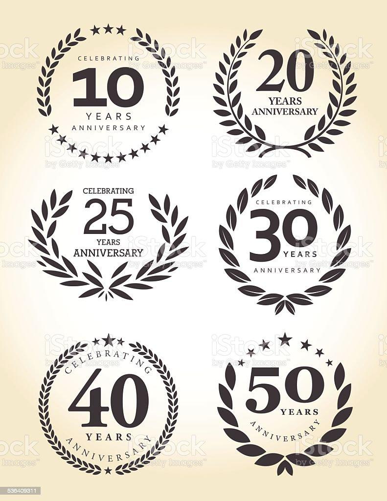 Emblema de aniversário conjunto - ilustração de arte em vetor