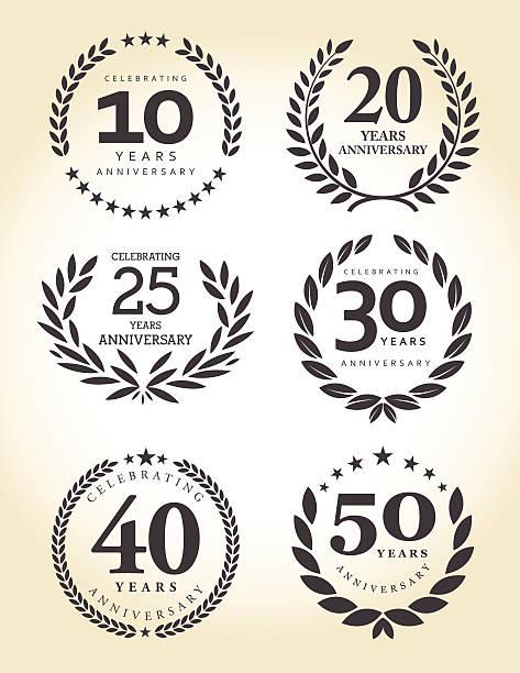 ilustrações, clipart, desenhos animados e ícones de emblema de aniversário conjunto - data especial