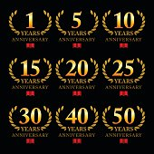 Vector of golden yellow color anniversary emblem for 1, 5, 10, 15, 20, 25, 30, 40 and 50 years with black background.