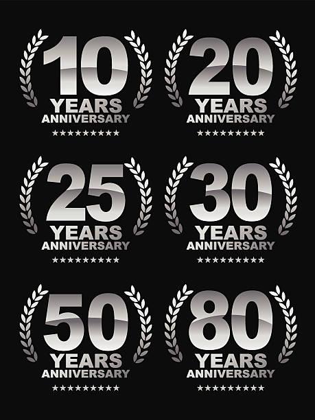 bildbanksillustrationer, clip art samt tecknat material och ikoner med anniversary emblem - 25 29 år