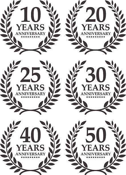Anniversary emblem Vector of black and white color anniversary emblem for 10, 20, 25, 30, 40 and 50 years. 20 29 years stock illustrations
