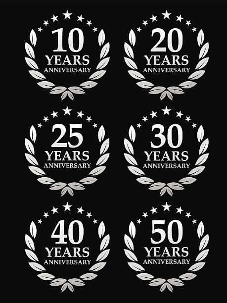 ilustrações, clipart, desenhos animados e ícones de emblema de aniversário - 25 30 anos