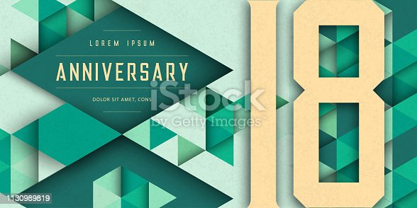 Anniversary emblems celebration logo, 18th birthday vector illustration, with texture background, modern geometric style and colorful polygonal design. 18 Anniversary template design, geometric design