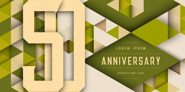 Anniversary emblems celebration logo, 50th birthday vector illustration, with texture background, modern geometric style and colorful polygonal design. 50 Anniversary template design, geometric design vector art illustration