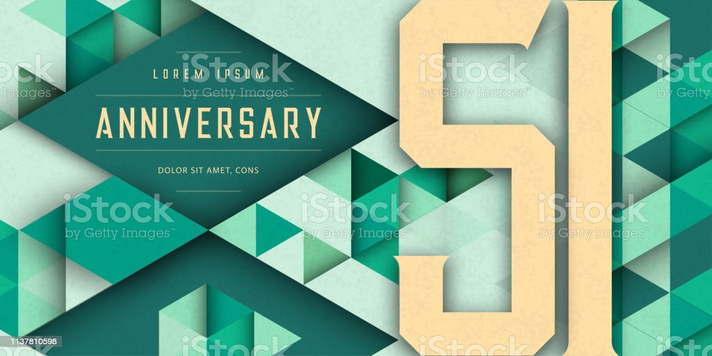Anniversary emblems celebration logo, 51st birthday vector illustration, with texture background, modern geometric style and colorful polygonal design. 51 Anniversary template design, geometric design vector art illustration