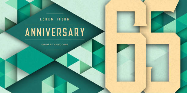 Anniversary emblems celebration logo, 65th birthday vector illustration, with texture background, modern geometric style and colorful polygonal design. 65 Anniversary template design, geometric design vector art illustration
