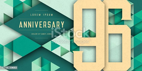 Anniversary emblems celebration logo, 96th birthday vector illustration, with texture background, modern geometric style and colorful polygonal design. 96 Anniversary template design, geometric design