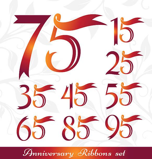 bildbanksillustrationer, clip art samt tecknat material och ikoner med anniversary emblems from ribbons - 55 59 år