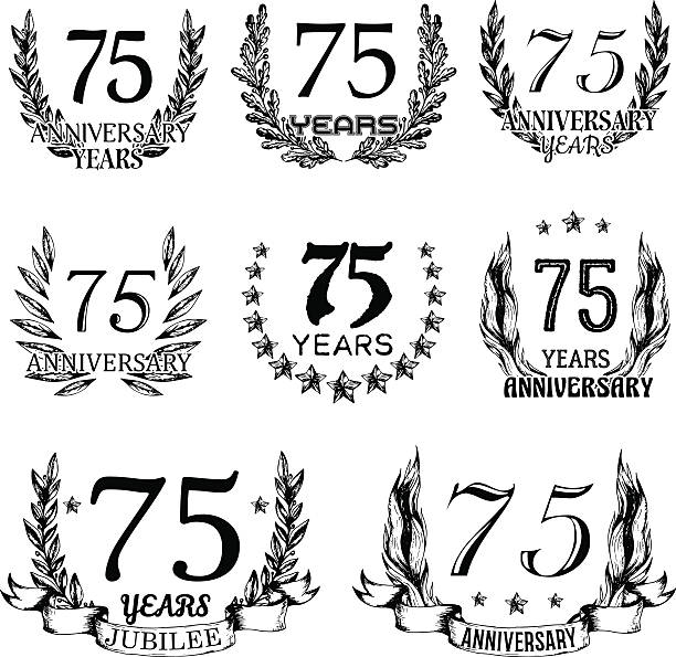 Anniversary emblems in sketch style vector art illustration