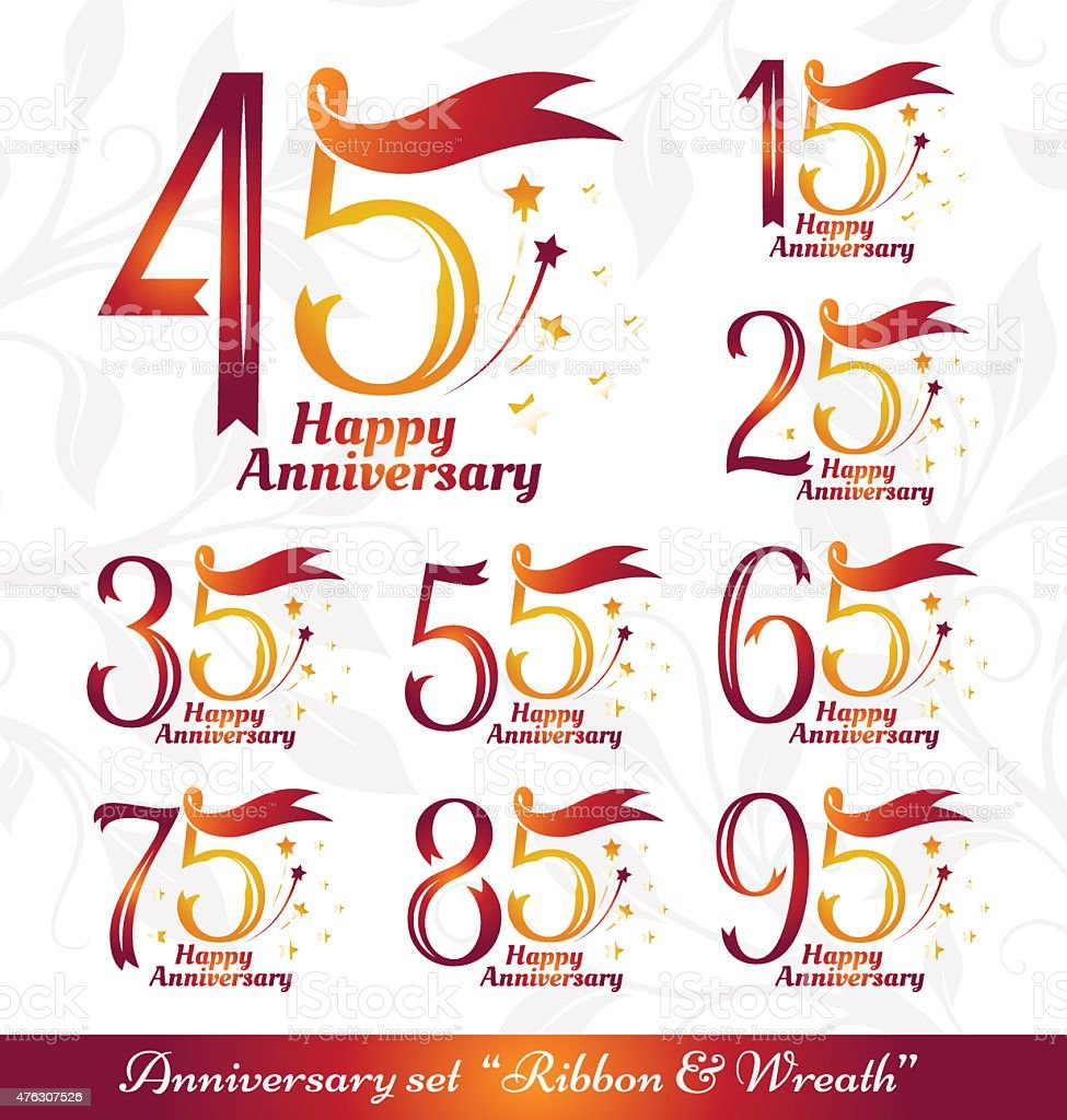 Anniversary emblems ribbons and wreath vector art illustration