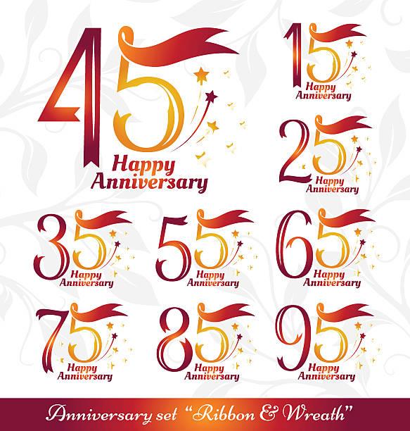 bildbanksillustrationer, clip art samt tecknat material och ikoner med anniversary emblems ribbons and wreath - 55 59 år