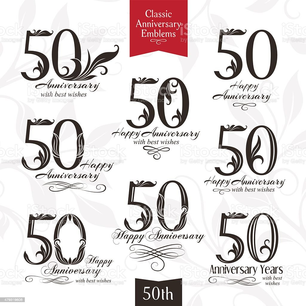 Anniversary emblems set in classic style vector art illustration