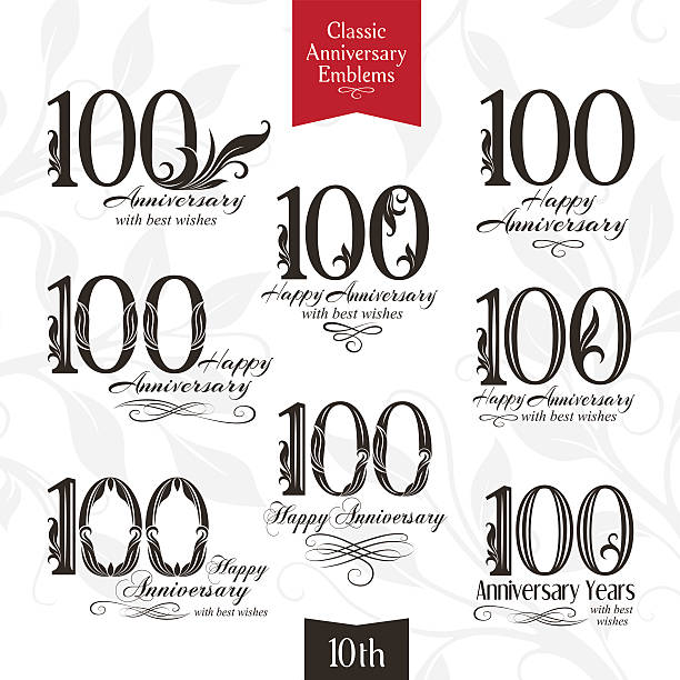 Anniversary emblems set in classic style 100th anniversary emblems. Templates of anniversary, birthday and jubilee symbols 100th anniversary stock illustrations