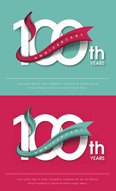 bildbanksillustrationer, clip art samt tecknat material och ikoner med anniversary emblems template design - nummer 100