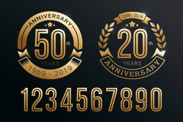 bildbanksillustrationer, clip art samt tecknat material och ikoner med anniversary emblem malluppsättning design med guld nummer stil - årsdag