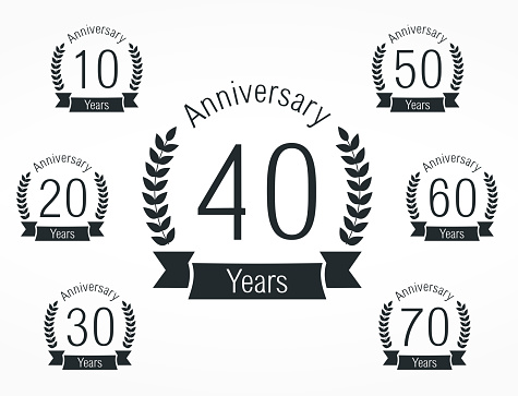Set of anniversary emblems, vector eps10 illustration