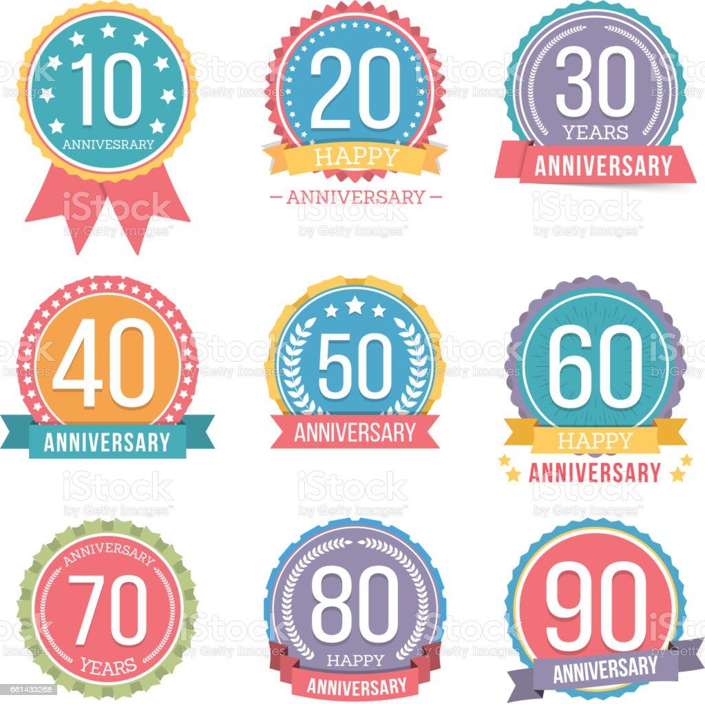 ilustração de aniversário emblems e mais banco de imagens de 20 anos