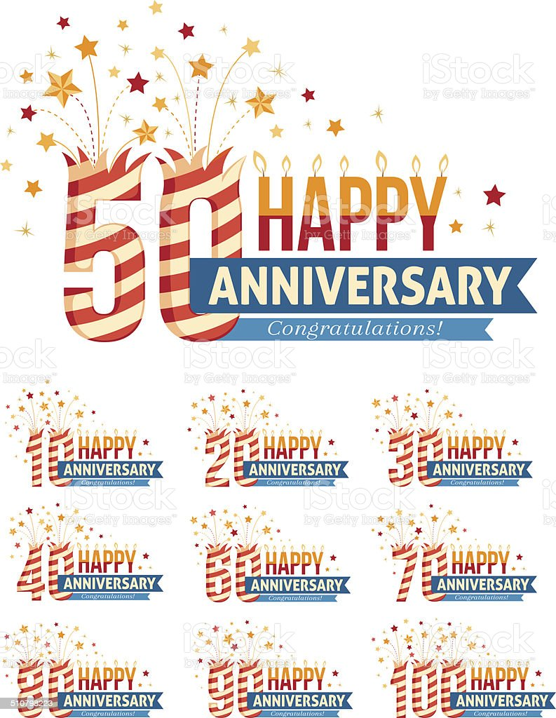 Anniversary emblems with fireworks numbers vector art illustration