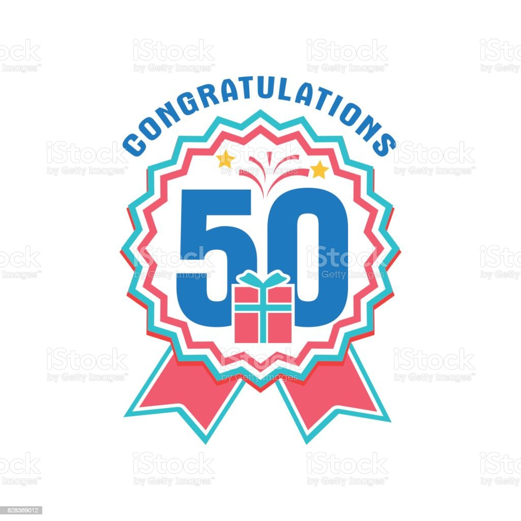 Anniversary fifty years number vector art illustration