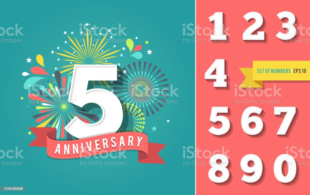 Anniversary fireworks and celebration background, set of numbers vector art illustration