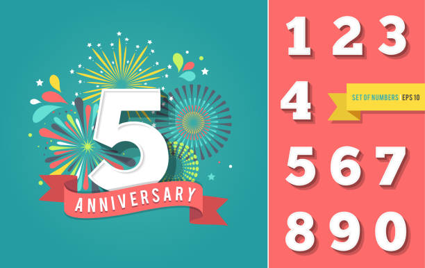Anniversary fireworks and celebration background, set of numbers - ilustración de arte vectorial