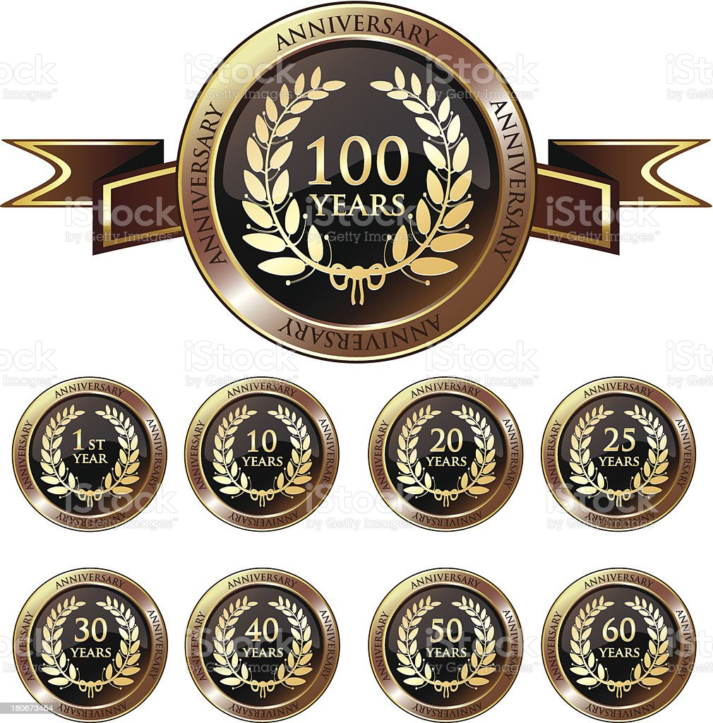 Anniversary Gold Badge Collection vector art illustration