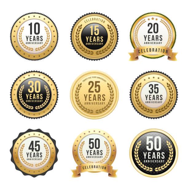 Anniversary Gold Badge Set Vector illustration of the anniversary gold badge set diademe stock illustrations
