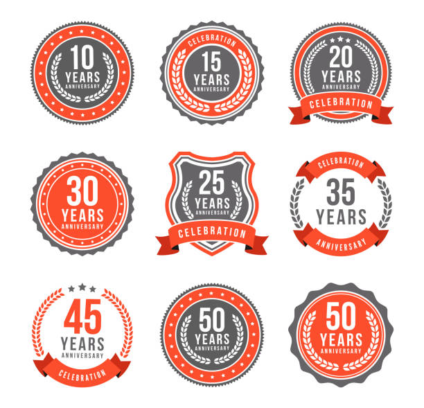 Anniversary Gold Badge Set Vector illustration of the anniversary gold badge set anniversary icons stock illustrations