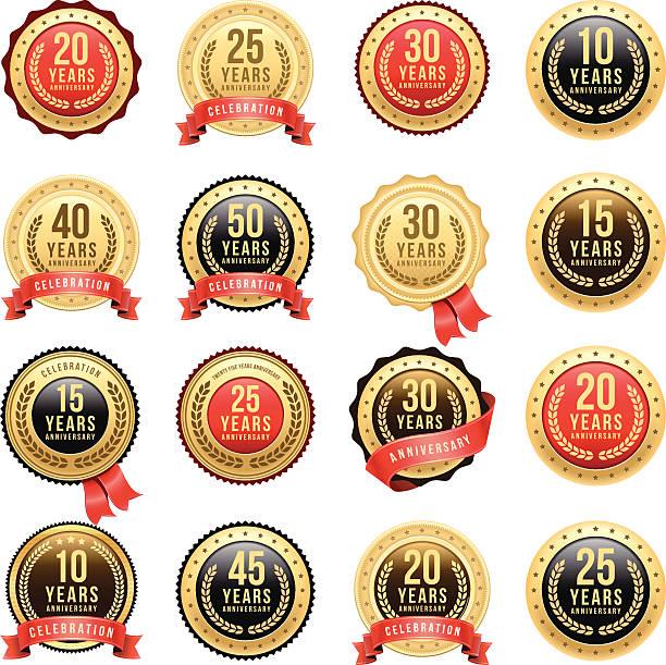 bildbanksillustrationer, clip art samt tecknat material och ikoner med anniversary gold badge set - 25 29 år