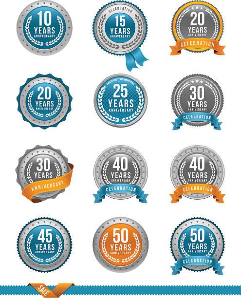 ilustrações, clipart, desenhos animados e ícones de medalha de ouro, conjunto de aniversário - 25 30 anos