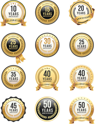 Vector illustration of the anniversary gold badges.