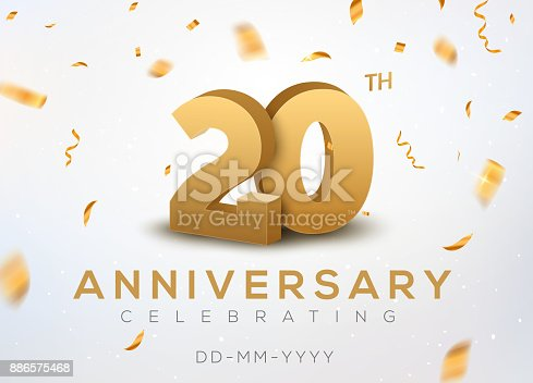 20 Anniversary gold numbers with golden confetti. Celebration 20th anniversary event party template.