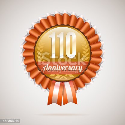 istock Anniversary golden badge with ribbons 472366279