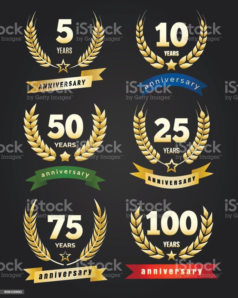 Anniversary golden banners vector art illustration
