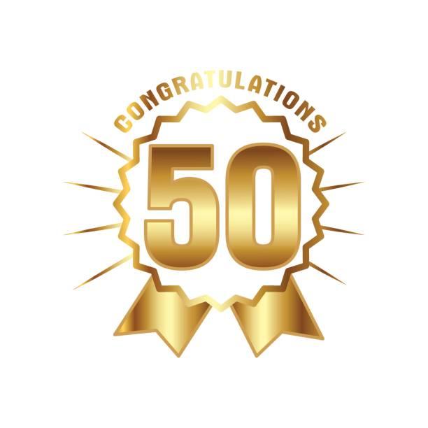Número de ouro 50 anos de aniversário - ilustração de arte em vetor