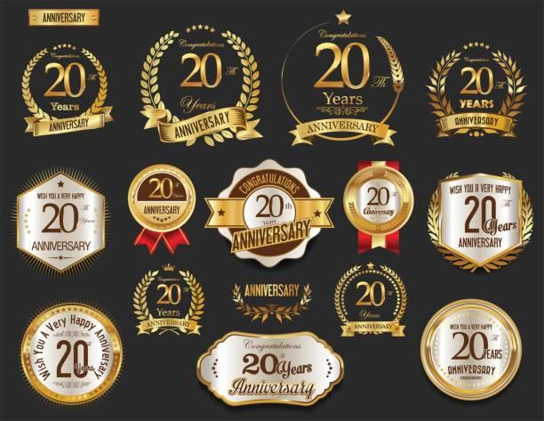 illustrazioni stock, clip art, cartoni animati e icone di tendenza di anniversary golden laurel wreath and badges vector collection - 20 24 anni
