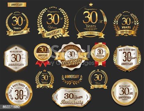 istock Anniversary golden laurel wreath and badges vector collection 852271680