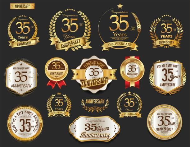 ilustrações, clipart, desenhos animados e ícones de coleção de vetores de emblemas e coroa de louros dourada de aniversário - 35 39 anos
