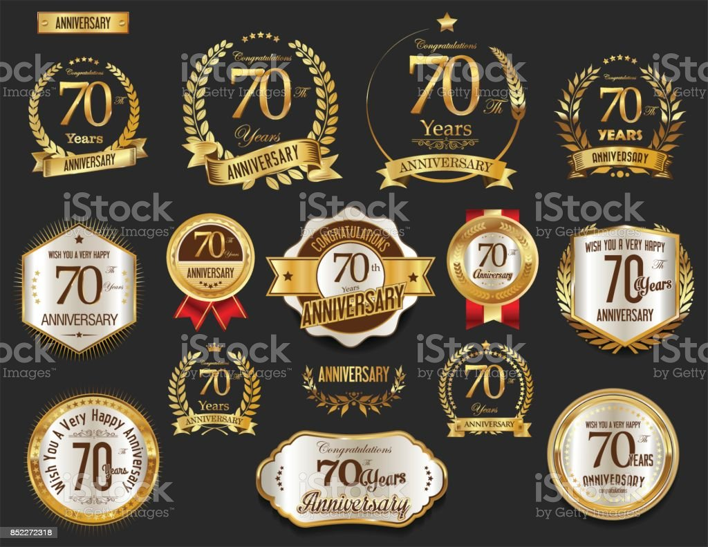 Anniversary golden laurel wreath and badges vector collection vector art illustration