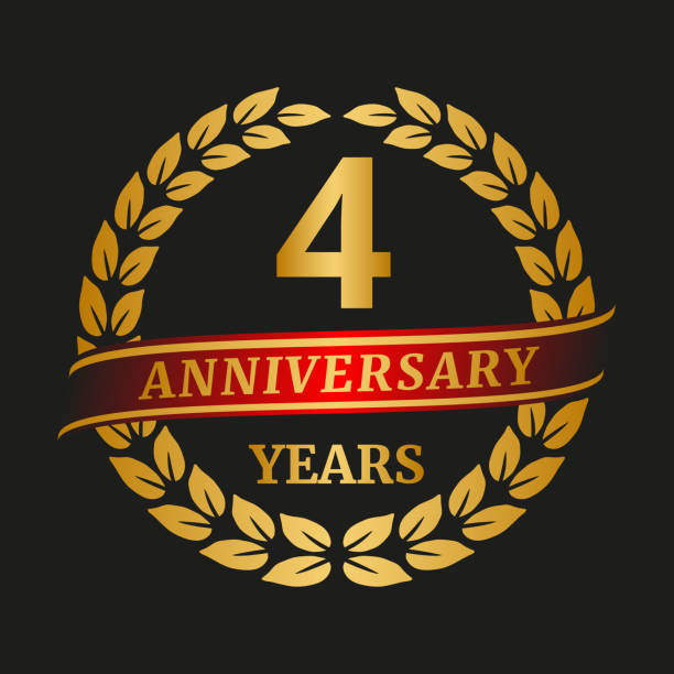 Anniversary golden laurel wreath on black background. vector art illustration