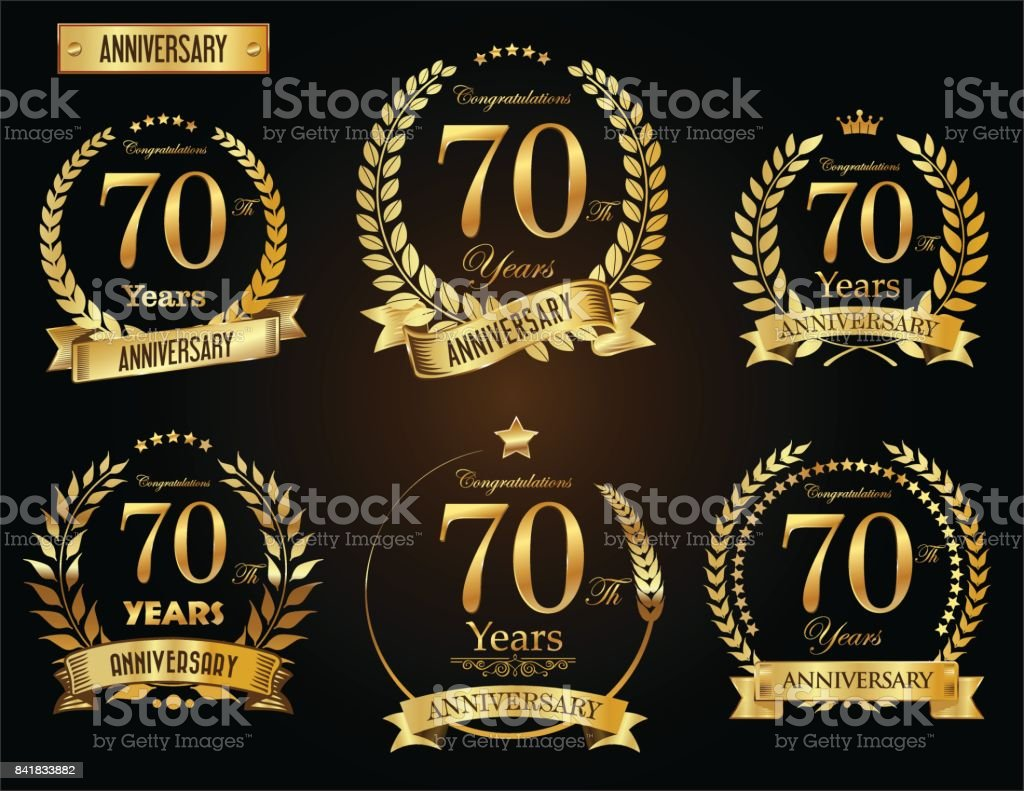 Anniversary golden laurel wreath vector collection vector art illustration